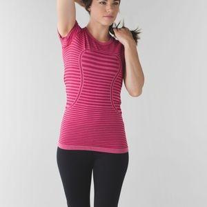 Lululemon Swiftly Tech Striped Pink Tee Size 2